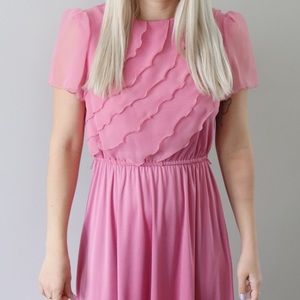 Vintage Dresses - 70's Pink Ruffle Breast Dress with Sheer Sleeves